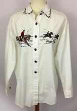 Vintage Orvis Button Down Shirt White Hunters On Horses Size 14