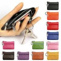 Men Women Soft Genuine Leather Card Coin Key Holder Zip Wallet Pouch Bag Purse