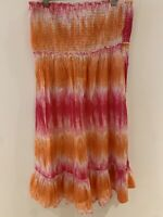 TIE DYE SUMMER DRESS 14 ORANGE PINK STRAPLESS PRETTY HOLIDAY SUMMER SLIP ON