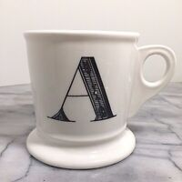 Anthropologie Monogram Letter A Alphabet White Black Shaving Style Mug Cup