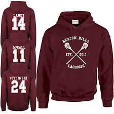 Beacon Hills Teen HOODIE Stilinski McCall Lahey All Wolf Names Lacrosse Premium