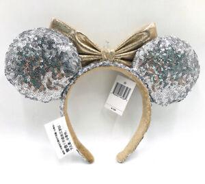 Minnie Ears Disney Parks Castle Jewel Silver Sequins Mickey Mouse Bow Headband