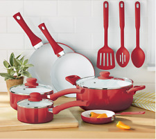 Mainstays Ceramic Nonstick 12 Piece Cookware Set, Red Ombre