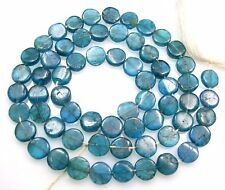 """NATURAL PEACOCK BLUE APATITE SMOOTH COIN BEADS 14.5"""" STRAND  V40"""