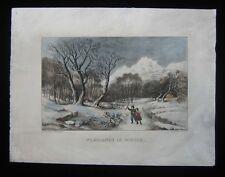 1874 Original Currier & Ives Woodlands in Winter Print Child Wolf American Scene