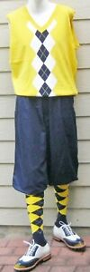 New Men Golf Knickers Navy  Microfiber  Outfit-KVNYWMGN Yellow Vest & Socks