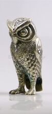 Eule, Vogel, Tierfigur, Deko, Skulptur aus Bronze, versilbert