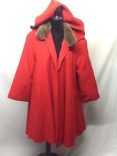 Women's Cashmere Blend Full Length Hooded Cape Trench Faux Fur Lined  Coat Sz 8