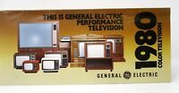 Vintage Color TV Brochure Print Ad 1980 GE General Electric Television