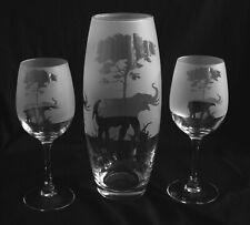 More details for elephant under tree gift vase & pair of wine glasses