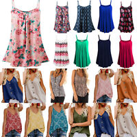 Plus Size Women's Summer Strappy Tank Shirt Blouse Cami Tunic Casual Loose Tops