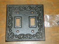 Rustic Cast Iron French Fleur De Lis Double Light Switch Outlet Plate Cover