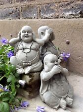 Three Beautifully Happy Buddhas Statues For The Home Or Garden. From Sius