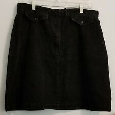 Womens Black Corduroy Skirt Size 16, Front Zip, 2 Faux Front Pockets
