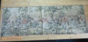"""Vintage Belgium Victorian Baroque Style Scene Tapestry 18.5"""" x 55"""" Wall Hanging"""