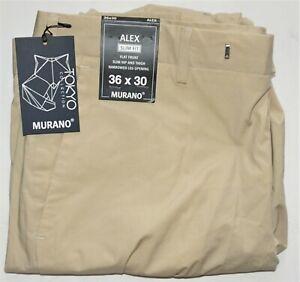 Murano Mens Chino Pants Alex 36x30 Slim Fit Flat Front Stone Cotton Stretch NWT