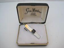 Style Tie Clip Clasp San Marino, Ca Vintage Silver Tone Square Black Stone Bar