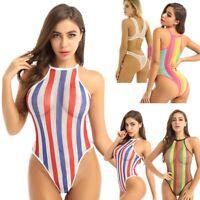 Womens Fishnet Thong Bikini Bodysuit Monokini Swimwear One-piece High Cut Swim