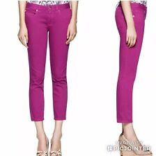 Tory Burch Party Fuchsia Pink Alexa Cropped Skinny Jeans Size 24 NWT $195.00