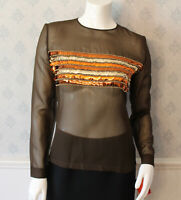 Vintage 1970s Brown Sheer Orange and Gold Sequin Long Sleeve Top