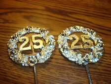 #2 Two * 25Th Anniversary CAKE Topper Birthday Cupcake Topper Pick Silver Tone