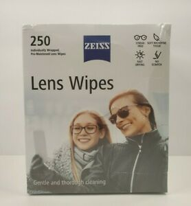 Zeiss Pre-Moistened Lens Cloths Wipes 250 Ct, Glasses Camera Phone Cleaning, New