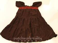 MINI BODEN Brown Corduroy Peasant Red Flower Stitched Holiday Tier Dress 11 12