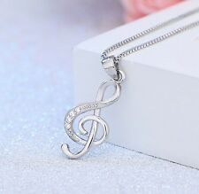 Silver G Clef Cubic Zircon Pendant Treble Musical Note Music Symbol Necklace L16