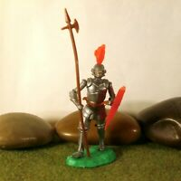 Original Hausser Elastolin 5,6cm Steckfigur beweglich schöner silberner Ritter