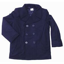 Eeuu Azul Marino Pea Coat XS-5XL Abrigo Lana de Invierno Corto Caban Colani