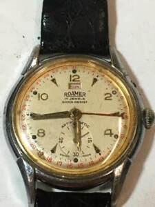 Mens Rare Roamer Brevete Antimagnetic Shock Resist Calendar Watch Wristwatch 17j