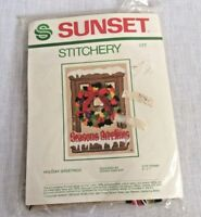 Sunset Stitchery 177 Seasons Greetings Counted Cross Stitch Kit Wreath New 5x7
