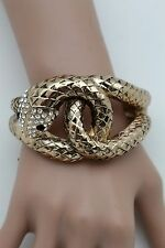 Cobra Women Gold Long Wrist Bracelet Bangle Metal Cuff Fashion Snake Wrap Around