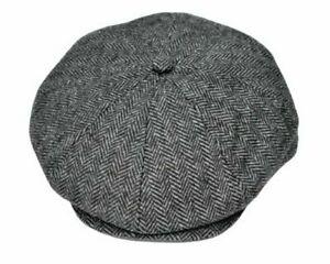 Peaky Blinders Cap Tommy Shelby Newsboy Baker Boy Grey Herringbone Wool 56-58cm