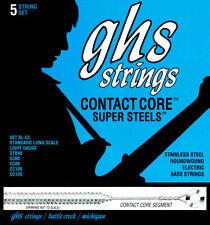 GHS 5L-CC CONTACT CORE SUPER STEELS BASS GUITAR STRINGS, 5-STRING SET, LIGHT