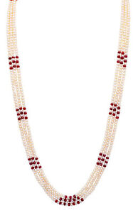 Gehna Jaipur 3 Layer Necklace of Ruby & Natural Sea Water Pearls NM1176