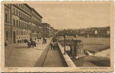Primi '900 Firenze Lungarno Americo Vespucci fiume carrozze cavalli FP B/N ANIM