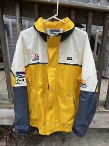Mens Vintage Gill Breathable Waterproof Sailing Jacket Size L 90s Yellow White