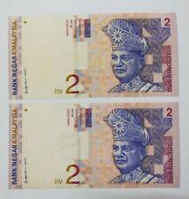 1996 -1999 MALAYSIA RM2 ALI SIDE CONSECUTIVE 2 NOTES PREFIX DG@UNC [P-40b]Foxing