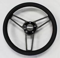 "67 68 Pontiac GTO Firebird Black Leatheron Black Billet Steering Wheel 14 3/4"""