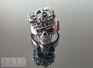 Exclusive Sterling Silver Black CZ King Royal iced eyes Crown Skull Punk RING