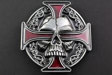 GOTHIC NORSE CROSS VIKING SKULL EYE RED BLACK & GREY METAL BELT BUCKLE