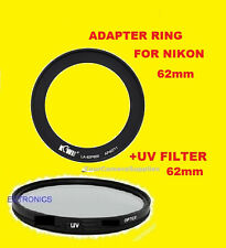 ADAPTER RING+UV FILTER =>NIKON COOLPIX P600 P610 B700 62mm RING TO FILTERS ONLY