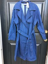 New $149 Chico's Drama Denim Trench Coat Jacket Blue Jean 2 = L Large 12 14 NWT