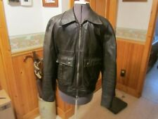 Vtg Mr Lee Leather Rare 40 R  JACKET 1970's Brown pointed collar Biker Hippy