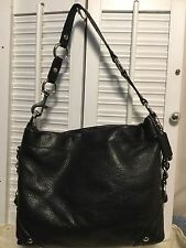 COACH CARLY Black Pebbled Leather Hobo Shoulder Handbag Silver Chain StrapF15251