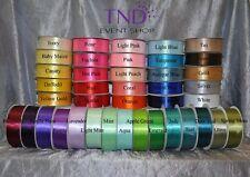 """Satin Ribbon 100% Polyester 50 Yd/100 Yd Roll 1/4"""" 3/8"""" 5/8"""" 7/8"""" 1.5"""" Wide"""