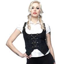Queen Of Darkness Baroque Damask Button Chain Underbust Vest Sleeveless Top