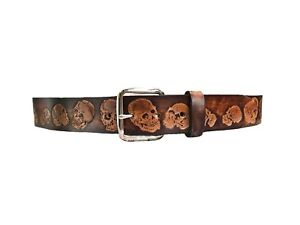 SKULL EMBOSSED BROWN  GENUINE LEATHER BELT