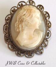 Antique Carved Oval Cameo Brooch